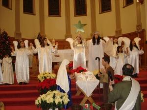 Presépio ao vivo na missa de Natal